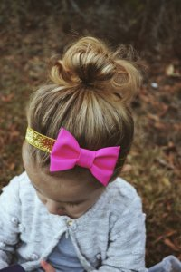 gold headband pink bow